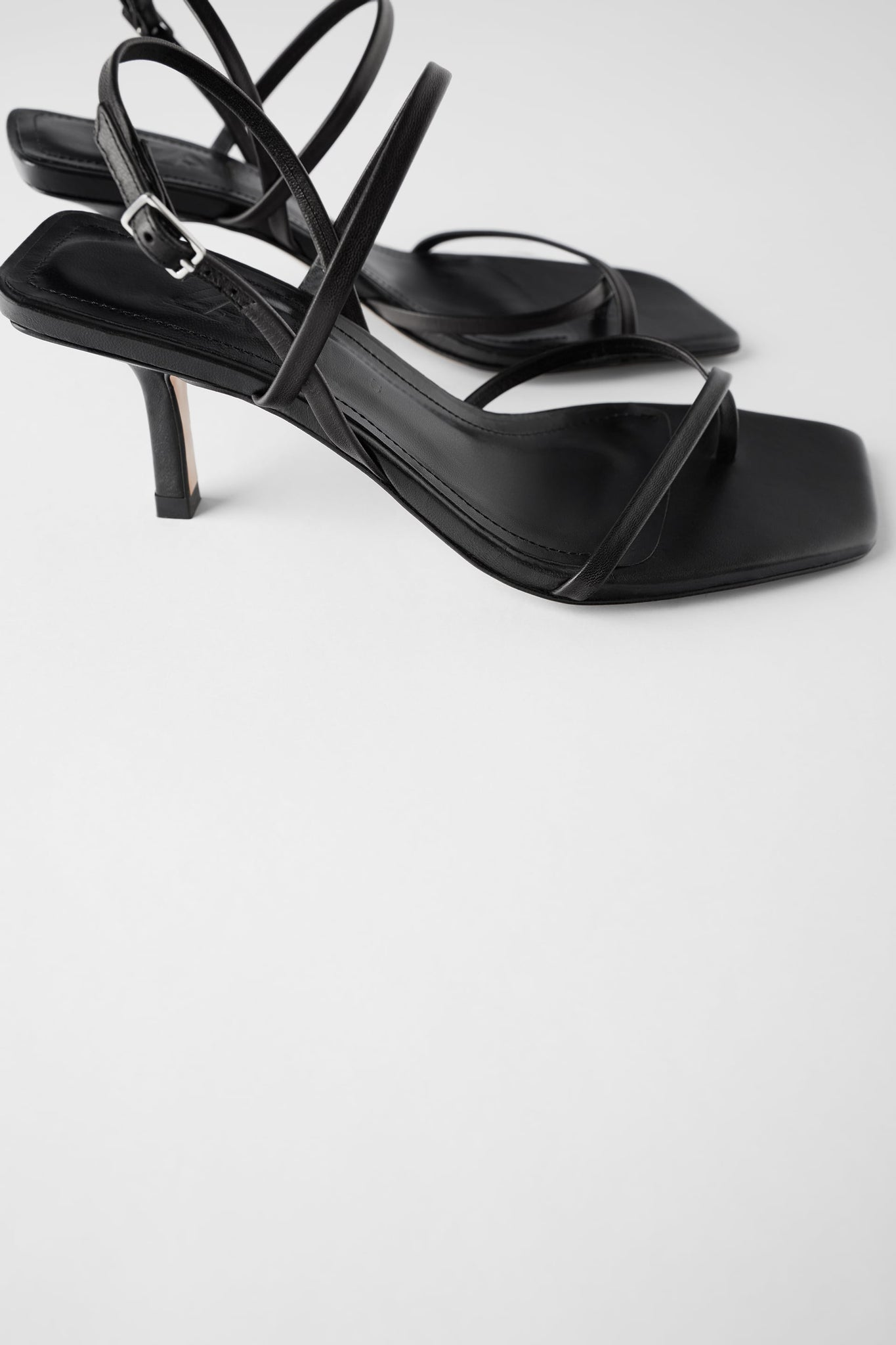 MID-HEEL STRAPPY LEATHER SANDALS - ZARA