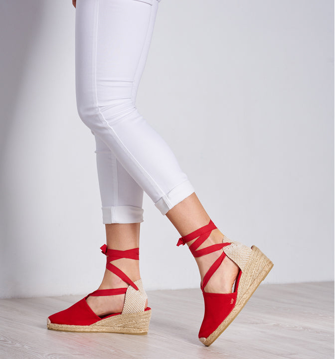Viscata espadrilles wedges lace-up made in Spain handcrafting