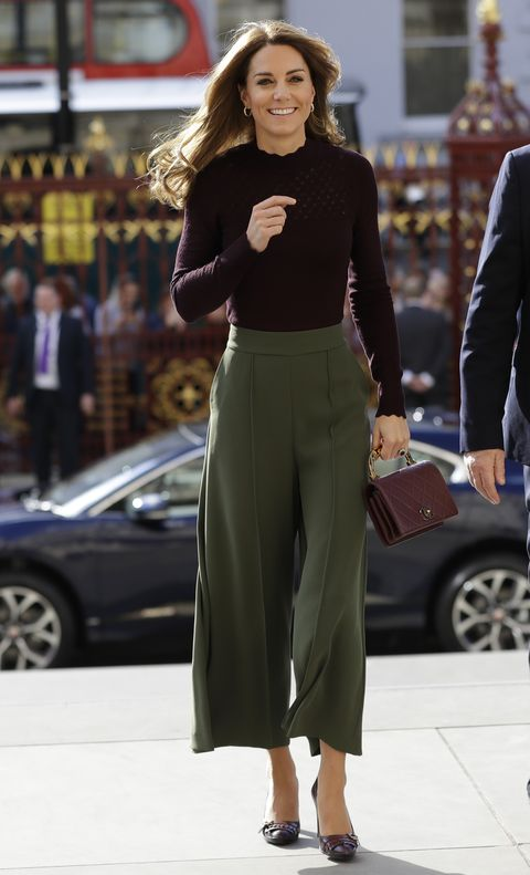 Kate Middleton featuring palazzo trousers and sweater
