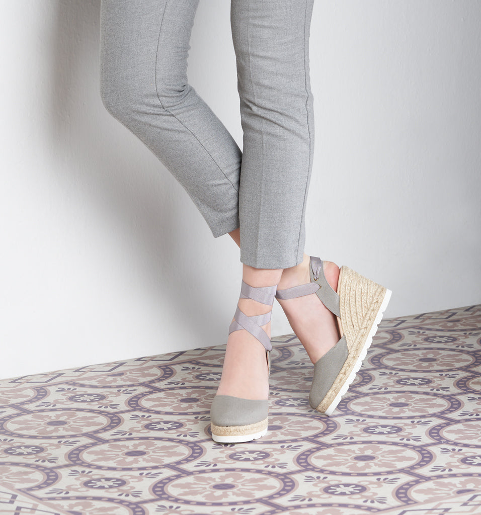 Beleser Canvas Mix Sole Wedges - Ash Grey