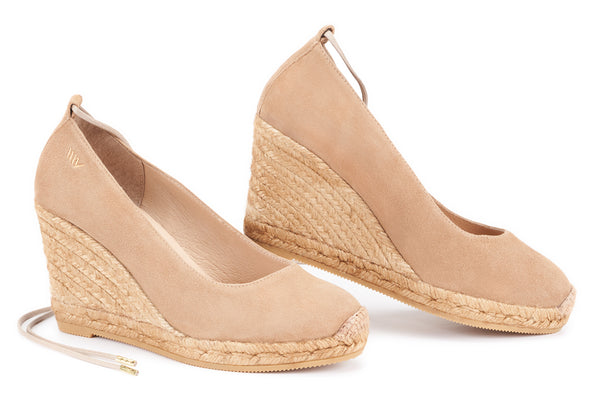 Romani Suede Lace-up Pumps- Camel