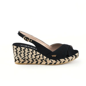 Llansa Canvas Wedges - Jacquard Bicolor Black