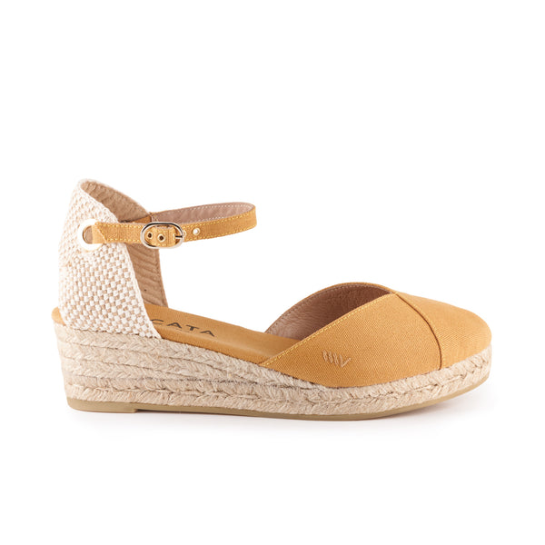 Pubol Canvas Espadrille Wedges - Mustard - VISCATA