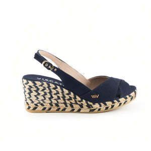 Llansa Canvas Wedges - Jacquard Bicolor Navy