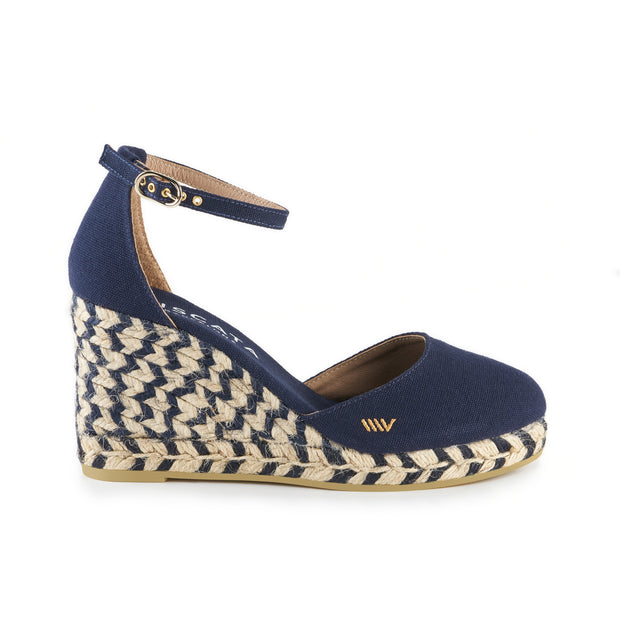 Estartit Canvas Wedges -  Jacquard Bicolor Navy 1