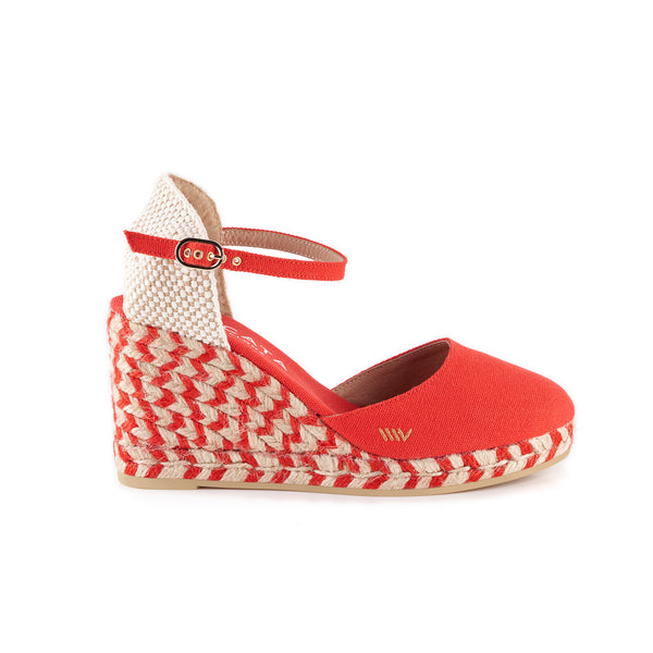 Satuna Canvas Wedges - Jacquard Bicolor Red