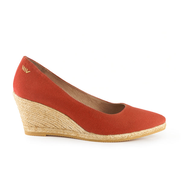 Roses Canvas Wedges - Tangerine