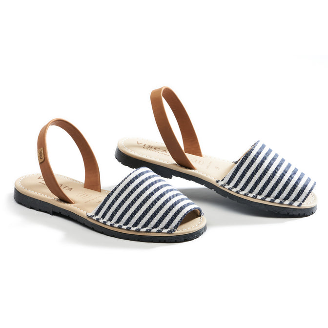 Buy Menorquina Canvas Avarcas - Navy Stripes online