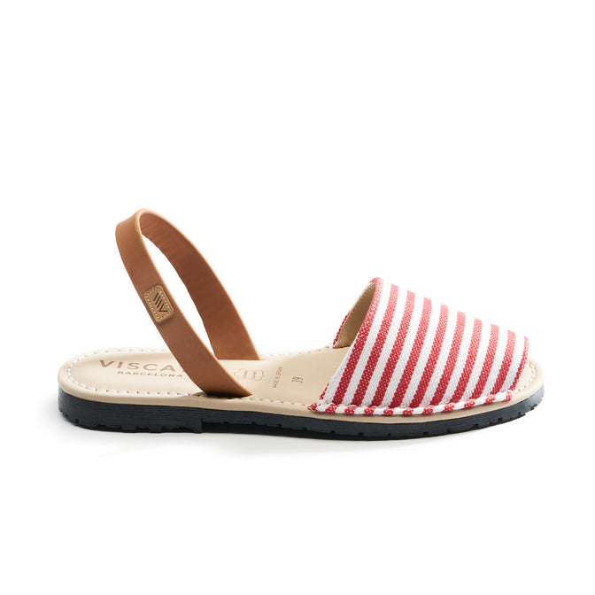 Buy Menorquina Canvas Avarcas - Red Stripes online
