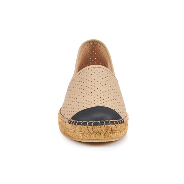 Barceloneta Leather Espadrilles - Beige Black (Elastic Inseam)