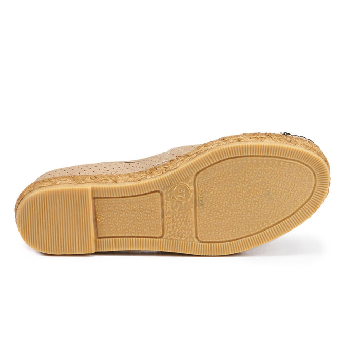 Buy Barceloneta Leather Espadrilles - Beige Black (Elastic Inseam) online