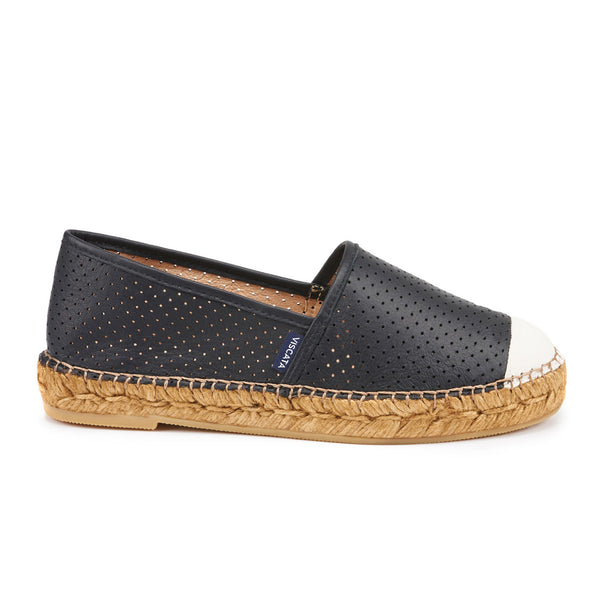 Barceloneta Leather Espadrilles - Black Ivory (Elastic Inseam)