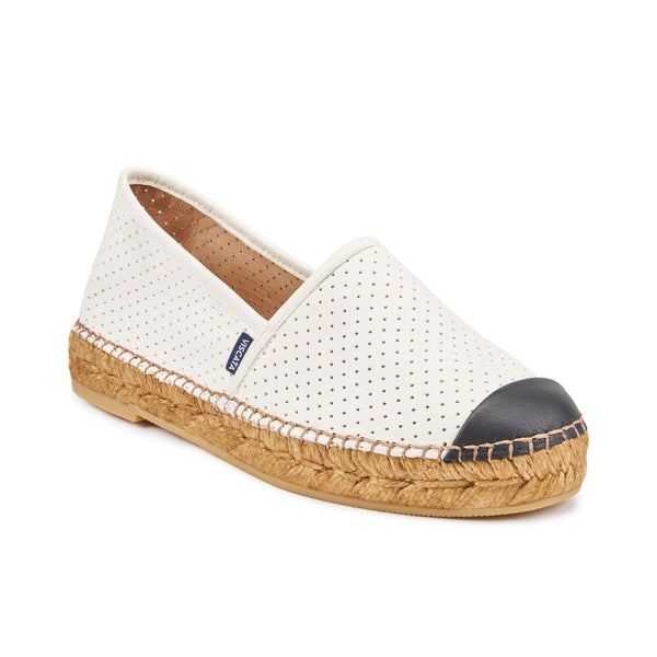Barceloneta Leather Espadrilles - Ivory Black (Elastic Inseam)