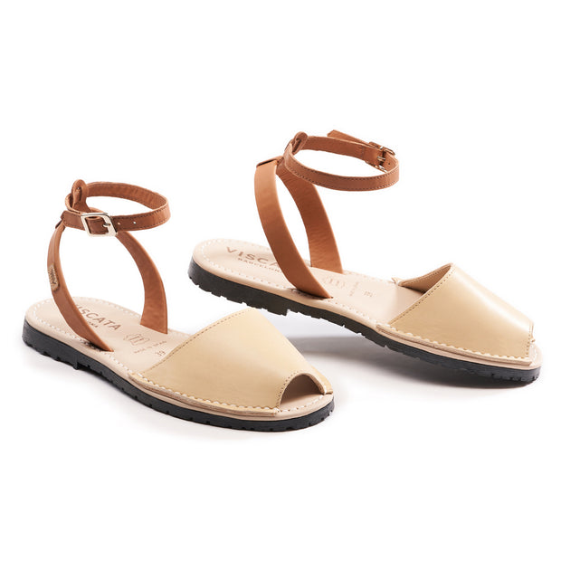 Menorquina Leather Ankle Strap Avarcas - Beige 1