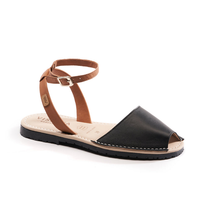 Buy Menorquina Leather Ankle Strap Avarcas - Black online