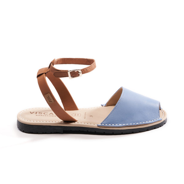 Menorquina Leather Ankle Strap Avarcas - Sky Blue