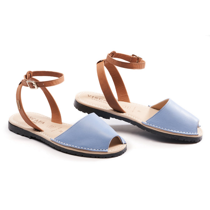 Buy Menorquina Leather Ankle Strap Avarcas - Sky Blue online