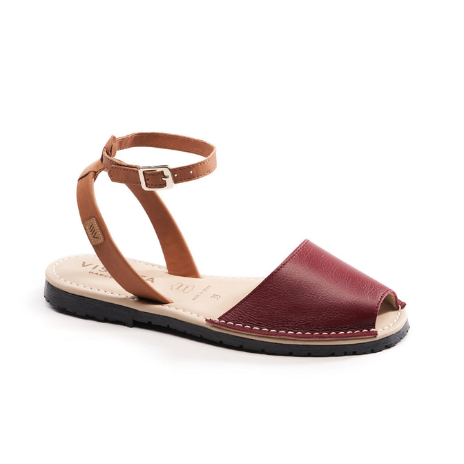 Buy Menorquina Leather Ankle Strap Avarcas - Burgundy online