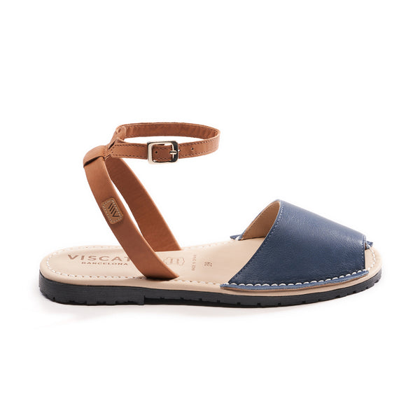 Menorquina Leather Ankle Strap Avarcas - Navy