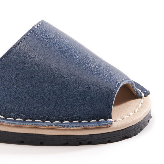 Buy Menorquina Leather Ankle Strap Avarcas - Navy online