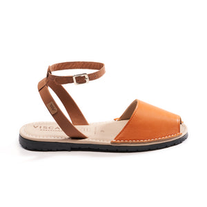 Menorquina Leather Ankle Strap Avarcas - Orange