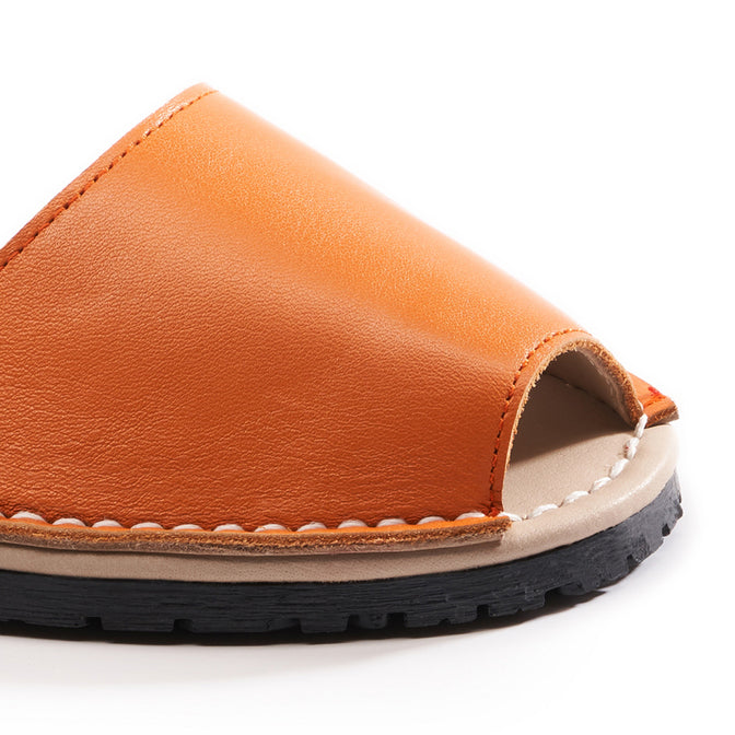 Buy Menorquina Leather Ankle Strap Avarcas - Orange online