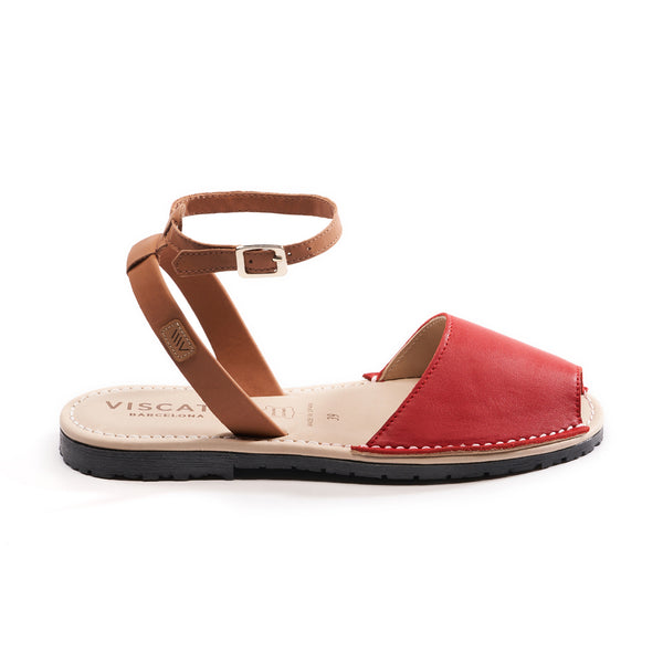 Menorquina Leather Ankle Strap Avarcas - Red