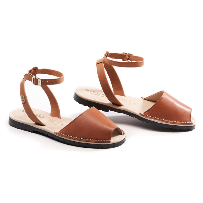 Buy Menorquina Leather Ankle Strap Avarcas - Sahara Brown online