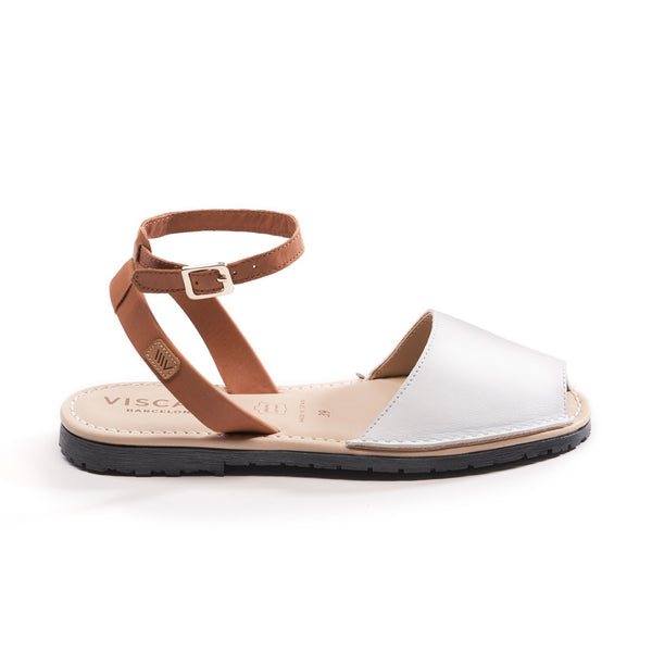 Menorquina Leather Ankle Strap Avarcas - White