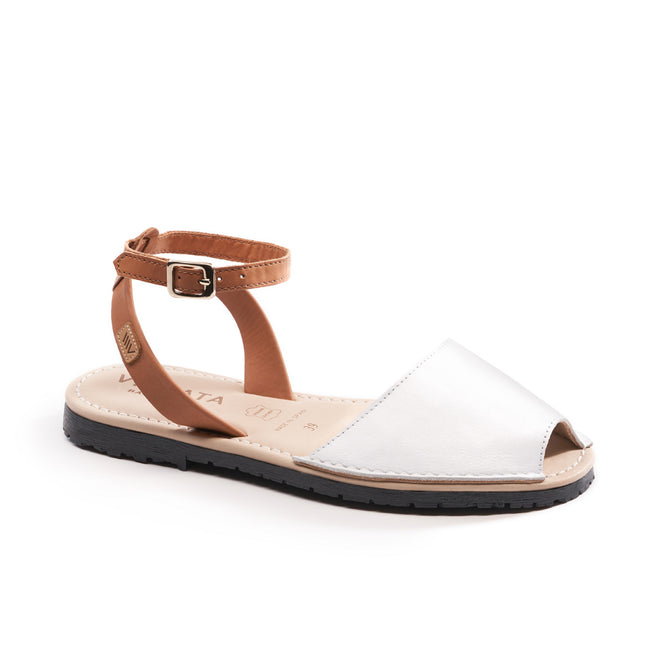 Buy Menorquina Leather Ankle Strap Avarcas - White online