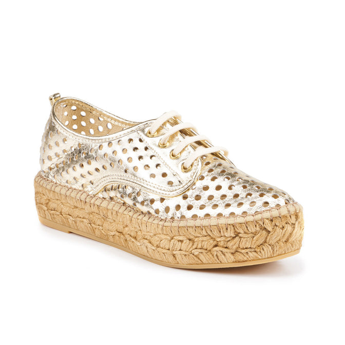 Buy Creus Leather Platform Espadrilles - Gold online