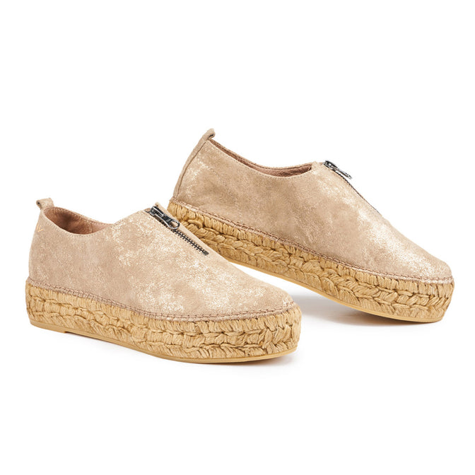 ... Pals Leather Platform Slip-on Espadrilles - Gold
