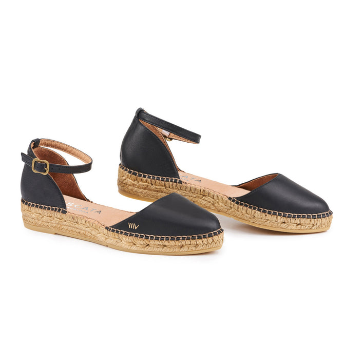 Buy Conca Leather Espadrilles - Black online