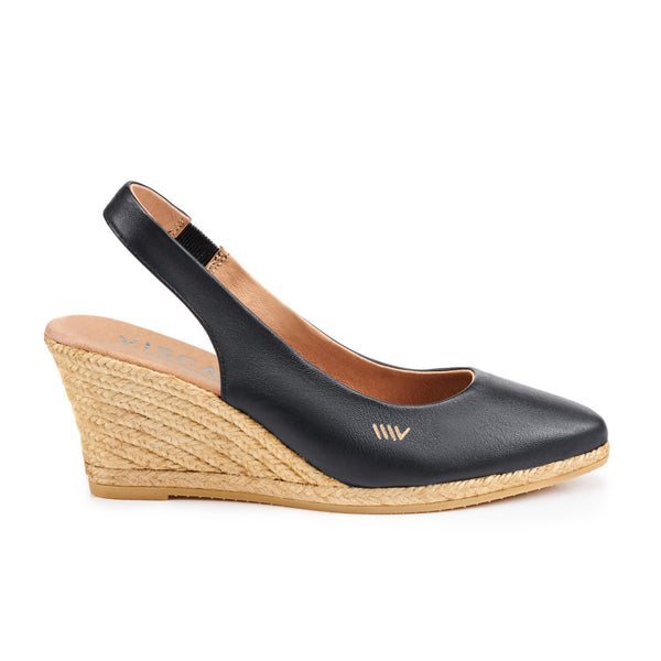 Lloret Leather Wedges - Black