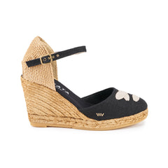Satuna Linen Wedges - Black Taupe Lace
