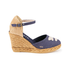 Satuna Linen Wedges - Navy Taupe Lace