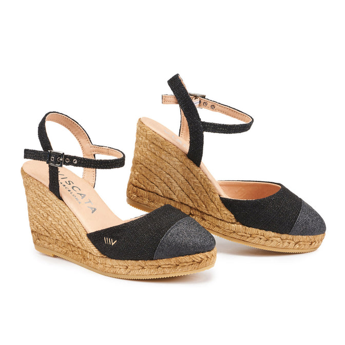 Buy Peratallada Linen Wedges - Black Sheen online