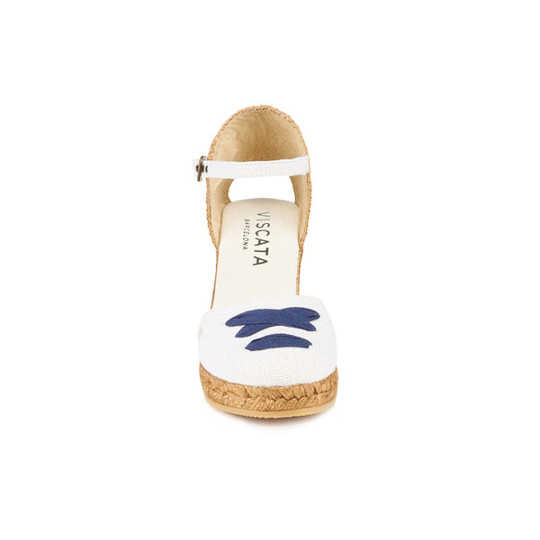 Satuna Linen Wedges - Ivory Navy Lace