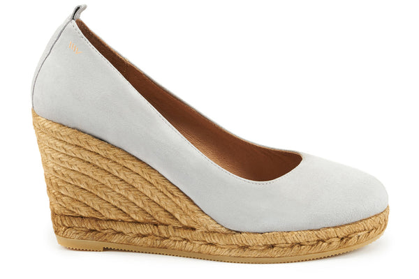 Marquesa Suede Wedge Pumps - Ash Grey - VISCATA