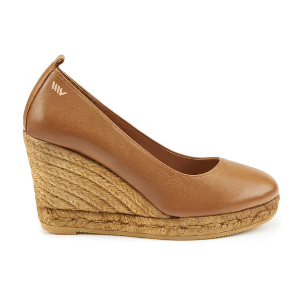 Marquesa Leather Wedge Pumps - Sahara Brown