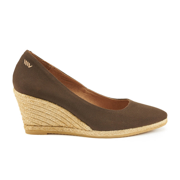 Roses Canvas Wedges- Brown