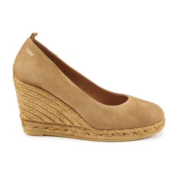 Marquesa Suede Wedge Pumps - Camel Brown