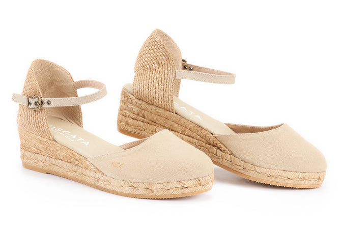 cb926bc0b7f Canet Canvas Espadrille Wedges - Beige - VISCATA