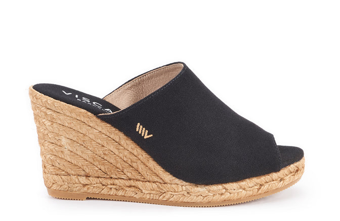 Massoni Canvas Espadrille Wedge Mules Black Viscata