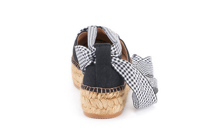 Buy Pinya Canvas Gingham Lace-up Platform Espadrilles - Black online