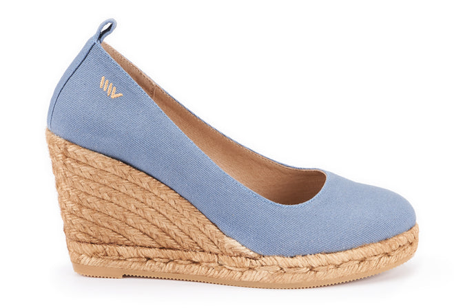 Buy Marquesa Canvas Wedge Pumps - Denim online