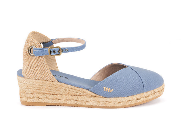 Pubol Canvas Espadrille Wedges - Denim - VISCATA