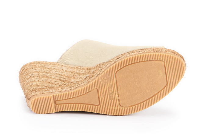 Buy Massoni Canvas Espadrille Wedge Mules - Beige online