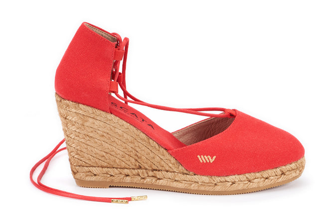 Buy Aro Canvas Wedges - Red online