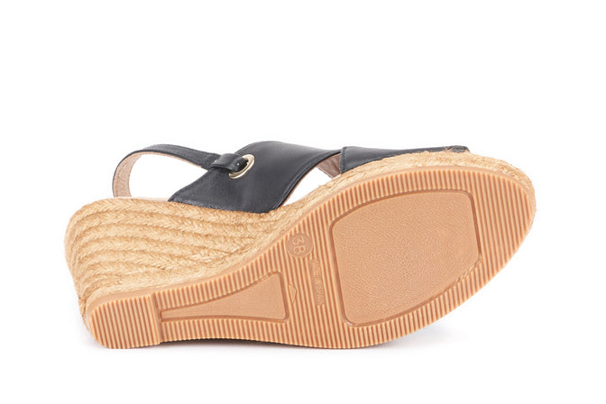 Buy Oltrera Leather Espadrille Wedge Mules - Black online
